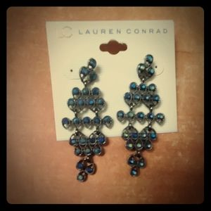 New LC Rhinestone Chandelier Statement Earrings